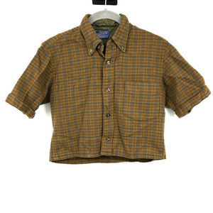 Pendleton Cropped Shirt S Plaid 100% Wool Button